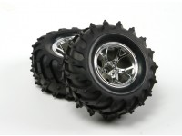 HobbyKing ® ™ 1/10 Crawler & Monster Truck 125 milímetros roda & do pneu (Silver Rim) (2pcs)