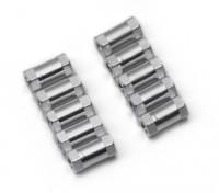 Leve de alumínio redonda Seção Spacer M3x10mm (prata) (10pcs)