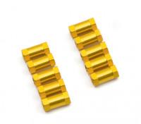 Leve de alumínio redonda Seção Spacer M3x10mm (ouro) (10pcs)