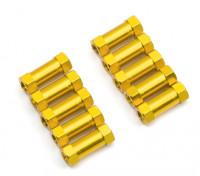 Leve de alumínio redonda Seção Spacer M3x13mm (ouro) (10pcs)