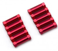 Leve de alumínio redonda Seção Spacer M3x17mm (vermelho) (10pcs)