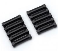 Leve de alumínio redonda Seção Spacer M3x20mm (Black) (10pcs)