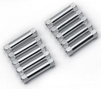 Leve de alumínio redonda Seção Spacer M3x22mm (prata) (10pcs)