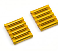 Leve de alumínio redonda Seção Spacer M3x22mm (ouro) (10pcs)