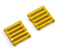 Leve de alumínio redonda Seção Spacer M3x24mm (ouro) (10pcs)
