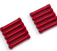 Leve de alumínio redonda Seção Spacer M3x25mm (vermelho) (10pcs)