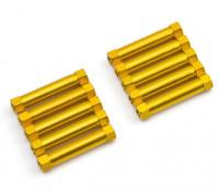 Leve de alumínio redonda Seção Spacer M3x26mm (ouro) (10pcs)