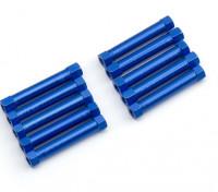Leve de alumínio redonda Seção Spacer M3x29mm (azul) (10pcs)