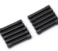 Leve de alumínio redonda Seção Spacer M3x30mm (Black) (10pcs)