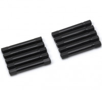 Leve de alumínio redonda Seção Spacer M3x37mm (Black) (10pcs)