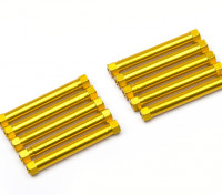 Leve de alumínio redonda Seção Spacer M3x38mm (ouro) (10pcs)