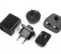 USB 2.5A fonte de alimentação 5v com intercambiáveis County Plugs (UE, EUA, Reino Unido, AU)