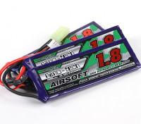 Turnigy nano-tecnologia 1800mAh 3S 25 ~ 50C Lipo AIRSOFT pacote