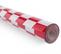 Cobertura Film Chequer-obra vermelho / branco pequeno (20 mm) Quadrados (5mtr)