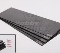 Tecido de fibra de carbono Folha de 300x100 (2.0MM Grosso)