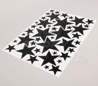 Estrela preto / branco Vários 425mmx300mm Folha Tamanhos Decal