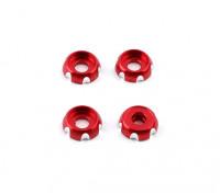 3 milímetros de alumínio CNC Roundhead Washer - Vermelho (4pcs)