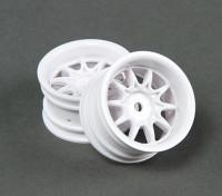 Passeio de 1/10 Mini 10 Spoke 4 milímetros roda de deslocamento - branco (2pcs)