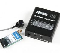 Aomway 5,8 g 500mW Vídeo Tx, Rx RX04 e linhas 600TV CMOS 5V conjunto de câmara (PAL) w / o DVR