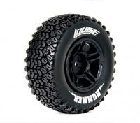 LOUISE SC-HUMMER 1/10 Escala Truck Tires Composto Macio / Preto Rim (Para LOSI 4X4 RTE-SCTE) / Mounted