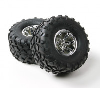 HobbyKing ® ™ 1/10 Crawler 132 milímetros roda & do pneu (Silver Rim) (2pcs)