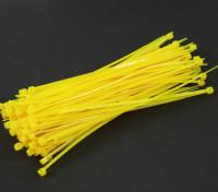 Cintas 150 mm x 3 milímetros amarelas (100pcs)