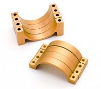 Ouro anodizado CNC tubo de liga semicírculo grampo (incl.screws) 22 milímetros