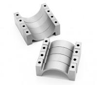 Prata anodizado CNC Semicircunferência Alloy tubo braçadeira (incl.screws) 22 milímetros