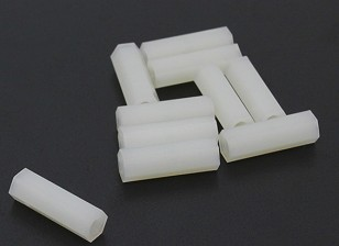 5,6 milímetros x 18 mm M3 Nylon Tapped Spacer (10pc)