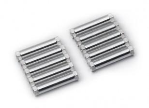 Leve de alumínio redonda Seção Spacer M3x24mm (prata) (10pcs)