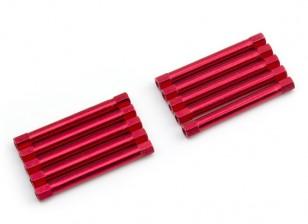Leve de alumínio redonda Seção Spacer M3x45mm (vermelho) (10pcs)