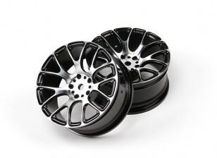 1/10 alumínio tração da roda 7Y raios (Black)