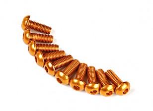 7075 Alu. M3 Rodada de ouro cabeça do parafuso 8 milímetros