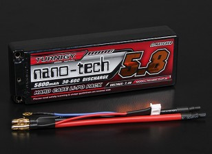 Turnigy nano-tecnologia 5800mAh 2S2P 30 ~ 60C Hardcase Lipo Pack (ROAR aprovado)