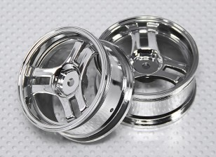 01:10 Roda Scale Set (2pcs) Chrome Split 3-Spoke 26 milímetros RC Car (No Offset)