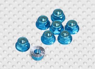 Azul alumínio anodizado M4 Nylock porcas da roda w / serrilhada flange (8pcs)