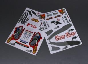 Folha de Auto-adesivo Decal - Equipe Samurai 1/10 Scale