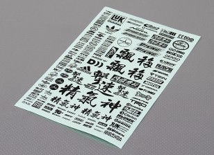 Auto-adesivo decalque folha - Character 1/10 Scale (Black)