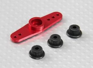 Universal de alumínio de duas vias Servo Arm - JR, Futaba & HITEC (vermelho)