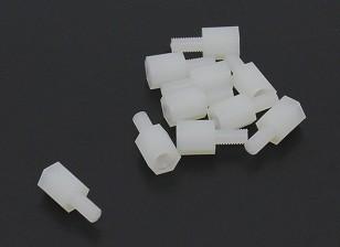 5,6 milímetros x 13 milímetros M3 Nylon Threaded Spacer (10pc)