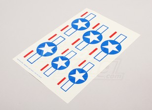 Escala da folha National Air Force Insignia Decal - EUA (estrelas e barras)