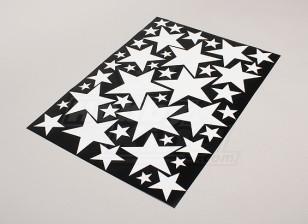 Estrela Branco / Preto Vários 425mmx300mm Folha Tamanhos Decal