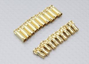 Conectores de bala quatro milímetros RCPROPLUS Supra X de ouro (10 pares)