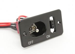 Médio direito metal Futaba / JR interruptor arnês com construído em Tomada de carregamento