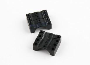 Anodizado preto Dupla Face CNC alumínio Tubo braçadeira 12 milímetros de diâmetro