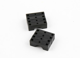 Anodizado preto Dupla Face Tubo CNC alumínio braçadeira 8 mm de diâmetro
