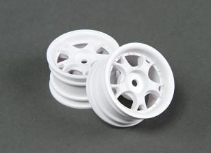 Passeio de 1/10 Mini 5W 0 milímetros raios da roda de deslocamento - branco (2pcs)