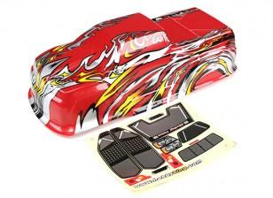 HobbyKing ™ 1/10 Escala pré-pintado Monster Truck Carroçaria-vermelho com chama Gráficos