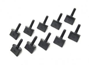 Parafusos de nylon Polegar M4 x 12 milímetros Preto (10pc)
