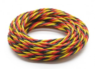 Torcido 22AWG Servo fio vermelho / preto / amarelo (5mtr)